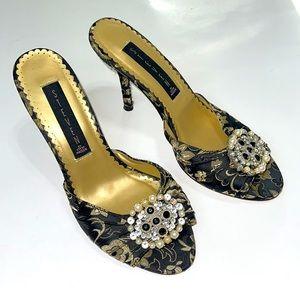 Steve Madden Black Gold Fabric Heels